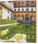 The Court Of The Myrtles And Comares Tower In Alhambra Wood Print