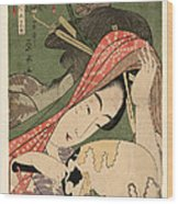 The Courtesan Tsukasa From The Ogiya House Tanabata. Star Festival  Wood Print
