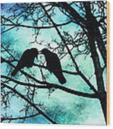 The Courtship Of Crows Wood Print