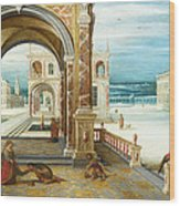 The Courtyard Of A Renaissance Palace Wood Print