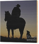 The Cowboy And His Dog Wood Print
