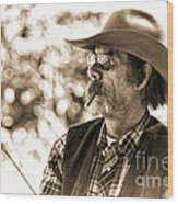 The Cowboy Angler Wood Print