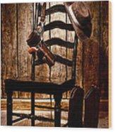 The Cowboy Chair Wood Print