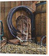 The Cowboy Wood Print by Paul Ward