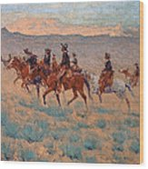 The Cowpunchers Wood Print by Frederic Remington