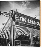 The Crab Cooker Newport Beach Black And White Photo Wood Print