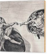 The Creation Of Adam A Redraw Wood Print by Beverly Marshall