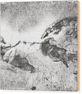 The Creation Of Adam Wood Print