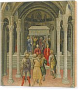 The Crippled And Sick Cured At The Tomb Of Saint Nicholas Wood Print by Gentile da Fabriano