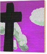 The Cross On Purple Wood Print