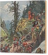 The Crossing Of The Alps, Illustration Wood Print