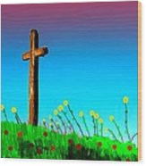 The Crossn The Field Wood Print