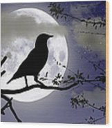The Crow And Moon Wood Print