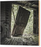 The Crowd Gathers Outside - Abandoned Apple Barn Wood Print by Gary Heller