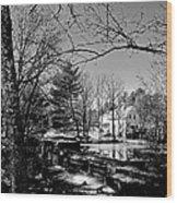 The Dam At Chocorua In Winter Wood Print