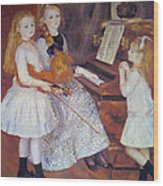 The Daughters Of Catulle Mendes Wood Print by Pierre Auguste Renoir