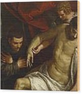 The Dead Christ Supported By An Angel And Adored By A Franciscan Wood Print