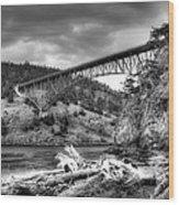 The Deception Pass Bridge II Bw Wood Print