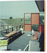 The Deck Of A Beach House Wood Print