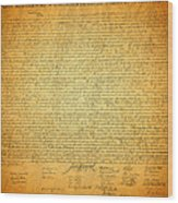 The Declaration Of Independence - America's Founding Document Wood Print