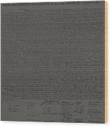 The Declaration Of Independence In Charcoal Wood Print