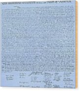 The Declaration Of Independence In Cyan Wood Print