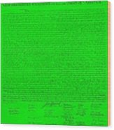 The Declaration Of Independence In Green Wood Print