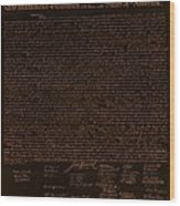 The Declaration Of Independence In Negative Orange Wood Print