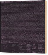The Declaration Of Independence In Negative Pink Wood Print