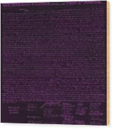 The Declaration Of Independence In Negative Purple Wood Print