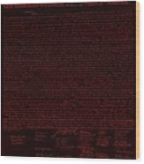 The Declaration Of Independence In Negative Red Wood Print