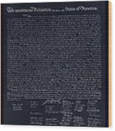 The Declaration Of Independence In Negative Red White And Blue Wood Print