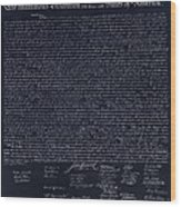 The Declaration Of Independence In Negative  Wood Print