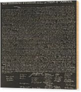 The Declaration Of Independence In Negative Sepia Wood Print by Rob Hans