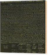 The Declaration Of Independence In Negative Yellow Wood Print