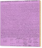 The Declaration Of Independence In Pink Wood Print