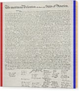 The Declaration Of Independence In Red White And Blue Wood Print by Rob Hans