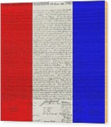 The Declaration Of Independence In Red White Blue Wood Print by Rob Hans