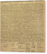 The Declaration Of Independence In Sepia Wood Print