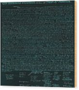 The Declaration Of Independence In Turquoise Wood Print