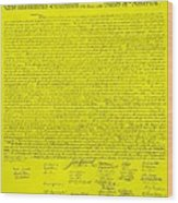The Declaration Of Independence In Yellow Wood Print