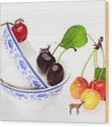 The Deers Among Cherries And Blue-and-white China Miniature Art Wood Print