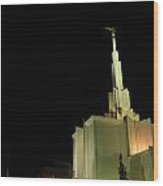 The Denver Temple At Night 1 Wood Print