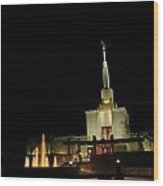 The Denver Temple At Night 3 Wood Print