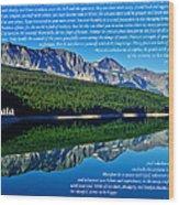 The Desiderata And Lake Sherburne Wood Print