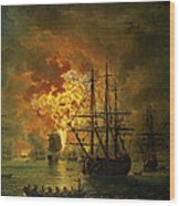 The Destruction Of The Turkish Fleet At The Bay Of Chesma Wood Print