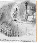 The Devil Speaks To A Bagpiper In Hell Wood Print