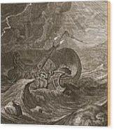 The Dioscuri Protect A Ship, 1731 Wood Print by Bernard Picart