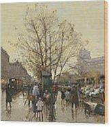 The Docks Of Paris Les Quais A Paris Wood Print by Eugene Galien-Laloue