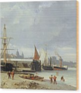 The Docks On The Bank At Greenwich  Wood Print